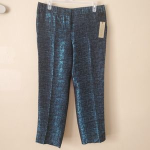 Express Editor Ankle Blue Black Metallic Pants NWT